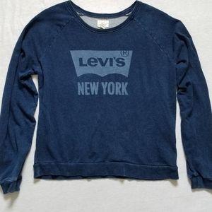 Levi's sweatshirt blue logo spellout prewashed XL